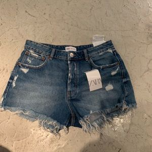 NWT ZARA cutoffs Jean denim shorts 8 40